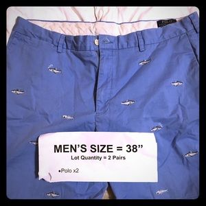 (2) Pair Ralph Lauren polo shorts size 38